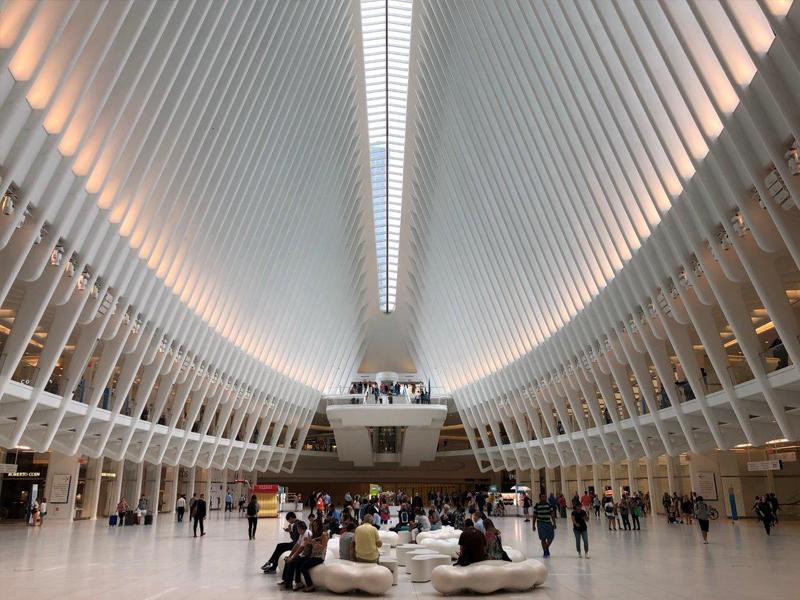 WTC transportation hub NYC curved glass guardrails
