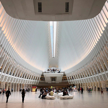WTC Transportation Hub curved guardrails extraclear glass